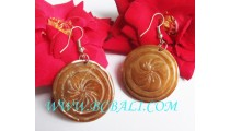 Bone Earring Floral Carving Hand Made