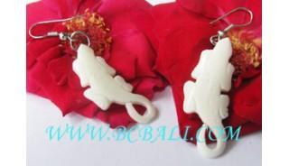 Bone Carved Earring Gecko