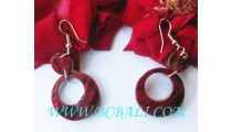 Hooks Earring Red Coral Shell Resin
