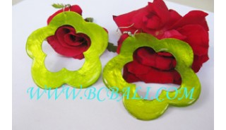 Earring Shell Green Lime Decorate Carved