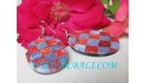 Red Coral Shell Earrings Resin