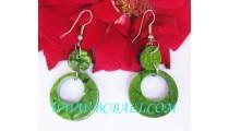 Women's Earring Shell Green Hooks