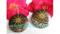 Organic Wooden Hand Painting Earrings