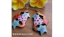Assorted Earrings Coloring Wooden Carved Bali