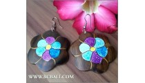 Assorted Earrings Wood Carving Flower Painting