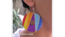 Bali Circle Wooden Earrings Painted