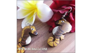 Bali Exotic Earrings Wooden Carved Painting