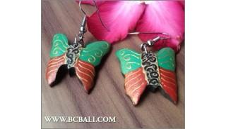 Bali Fashion Earrings Buterfly Painting Wood