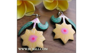 Bali Flower Carving Wooden Earrings