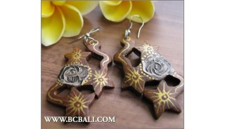 Bali Hand Carving Wooden Earrings Fashion