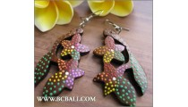 Bali Wood Colored Earring Carved Fashion