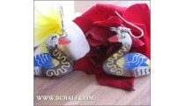 Bali Wood Earrings Duck Carving Painting