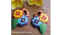 Bali Wooden Earrings Carved Flower Fashion