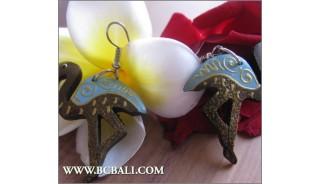 Bali Wooden Earrings Swan Coloring Fashion