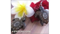 Balinese Earring Turtle Wood Carving Painted
