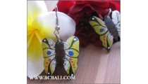 Balinese Earrings Buterfly Wood Coloring Carving
