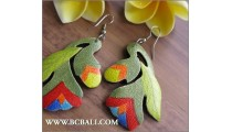 Balinese Earrings Carving Painting Wooden Bali
