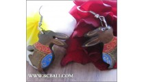 Balinese Wood Earrings Rabbit Coloring