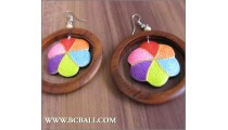 Balinese Wooden Painted Earrings Flower