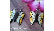 Buterfly Wood Earring Carving Painting Bali