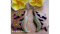 Exotic Flower Earrings Fashion Wood Painting