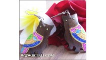Fashion Earring Owl Wood Carving Painting