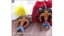Handmade Exotic Earrings Wood Carving Painting Bali