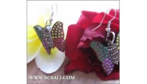Handmade Wood Earrings Buterfly Painted Carved