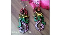 Handmade Wooden Painted Earrings Carving Bali