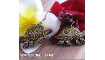 Ladies Earrings Turtle Carving Wooden Painting
