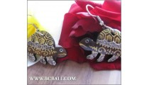 Turtle Wood Earring Carving Painted Fashion Bali