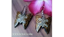 Woman Fashion Buterfly Earrings Painting Bali