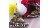 Wood Earrings Duck Painting Carving Handmade