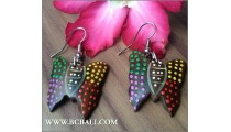 Wood Earrings Painting Carving Bali