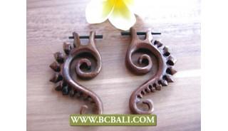 Bali Natural Wood Earring Carving