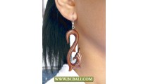 Wooden Earring Carving Bali Handmade