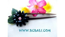 Wooden Hair Stick With Flower