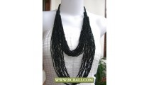 2 Layer Multi Strand Beading Necklaces Black