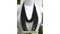 2 Layer Multi Strand Beading Necklaces Black