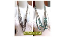 Necklaces Multi Seeds Long Beads Shells