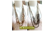 Bali Multi Strand Necklaces Shells Stones