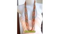 Bali Beads Necklace Multi Strand Fashion