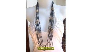 Beaded Bali Necklaces Design Multi Seeds