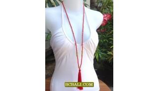 Beaded Tassel Necklace Pendant Long Strand