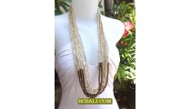 Beading Sequins Necklaces Multi Strand Wood