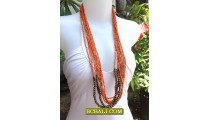 Beads Necklaces Sequins Multi Strand Wooden