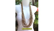 Golden Beads Necklaces Design Multi Strand Wood