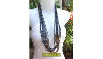 Beaded  Necklaces Multi Strand Wooden Natural