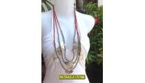 Fashion Beads Necklaces Charm Triple Strand Long Seeds