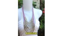 Fashion Rope Necklaces Multi String Steels Beading